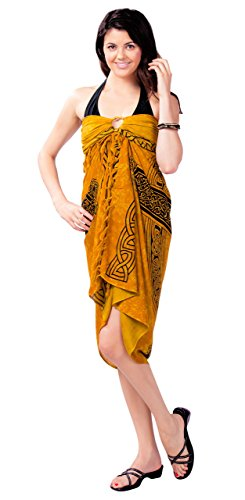 1 World Sarongs Womens Celtic Swimsuit Cover-Up Sarong Celtic Cross 3 in Gold