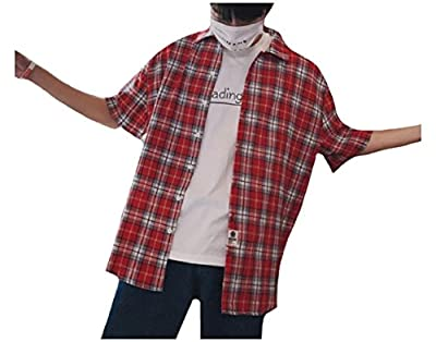 Vska Mens Plaid Half Sleeve Cotton Turn-Down Collar Western Shirt