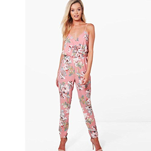 Tootu Women Jumpsuit V-Neck Floral Printed Sleeveless Party Trousers Bodysuit (M, Pink)
