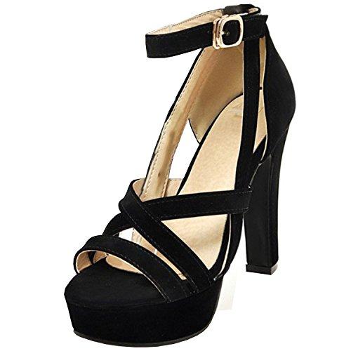 Azbro Mujer Sandalias de Color Bloque Correa a Tobillo de Plataforma Puntera Abierta Negro