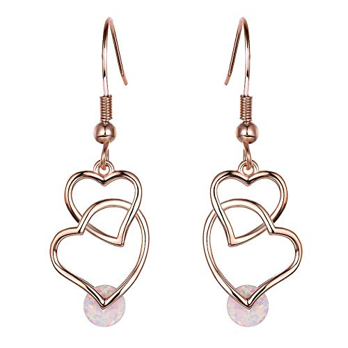 - B&H-ERX Personality Fashion Double Heart Crossing Gemstone Long Pendant Hook 925 Sterling Silver Hypoallergenic Filled Jewelry Cute Earrings Jewelry - Gift,C