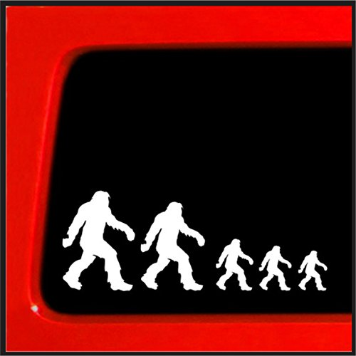 "Sticker Connection | Bigfoot Sasquatch Stick Figure Family Bumper Sticker Decal for Car, Truck, Window, Laptop | 2.75""x7.5"" (White)"