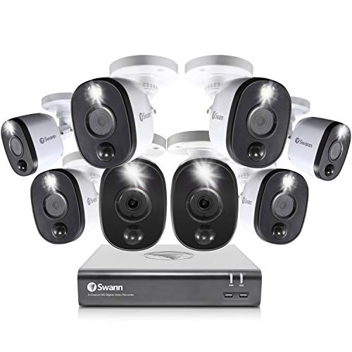 Swann Home Security Camera System, 8 Channel 8 Bullet Cameras, 1080p HD DVR, Indoor/Outdoor Wired Surveillance CCTV…