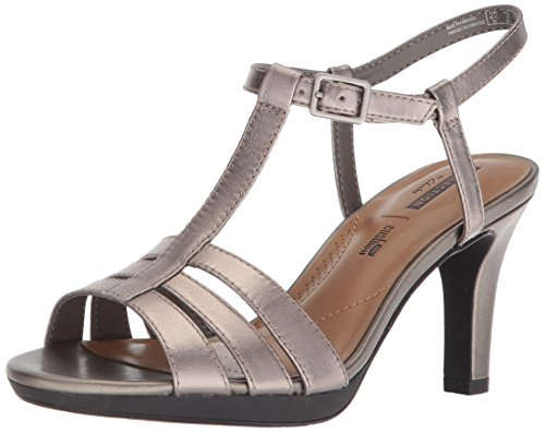 CLARKS Women's Adriel Tevis Platform, Pewter Leather, 8 Medium US (Clarks Dress Sandals)