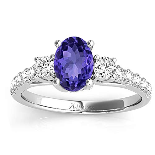 (1.40ct) Palladium Oval Cut Tanzanite and Diamond Engagement Ring Setting