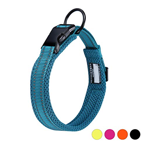 🥇 Collar para Perros Pequeños Grandes Medianos Reflectante Suave Acolchado Impermeable Ajustable Transpirable con Etiqueta de Nombre para Caminar Correr Trekking Entrenamiento
