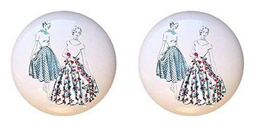 Sewing Drawer Pulls - SET OF 2 KNOBS - Vintage Dresses - Crafts Sewing - DECORATIVE Glossy CERAMIC Cupboard Cabinet PULLS Dresser Drawer KNOBS