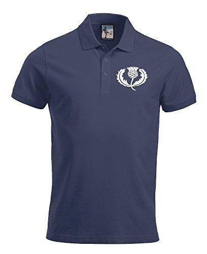 Nacional de Escocia Rugby Polo bordadas Retro Logo Azul azul ...