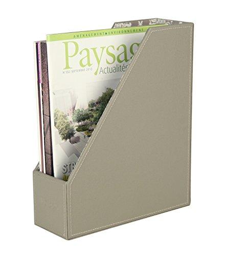 PU Leather Magazine Document File Holder Organizer, Grey, 10 x 3.6 x 12 inches