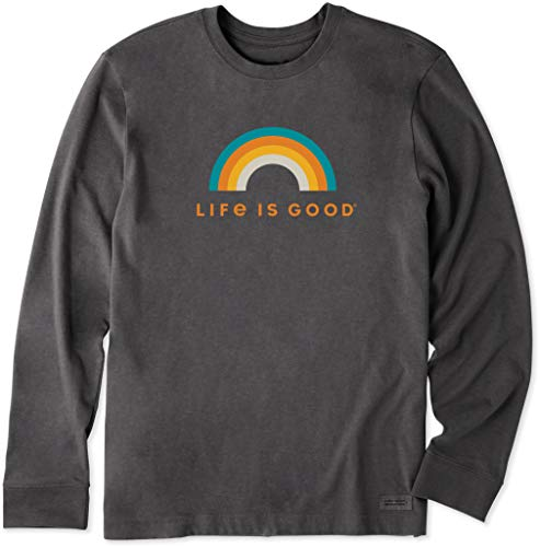 Life is Good Mens Graphic T-Shirts Long Sleeve Collection,Rainbow,Heather Night Black,XXX-Large