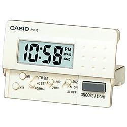 Casio Pq10-7r Travel Alarm Clock Led Light, White Color (WHITE, 46 X 65 X 15)