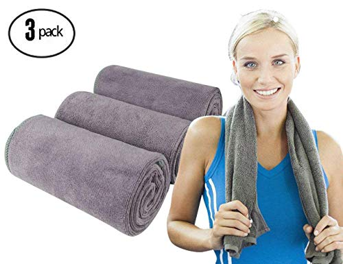 Workout Towels Sports Towel Microfiber Sweat Towels Set, Multi-Purpose Gym Towel, Fast Drying & Super Soft, for Sports, Fitness, Gym, Yoga, Travel, Camping & More (Grey 3 Pack)