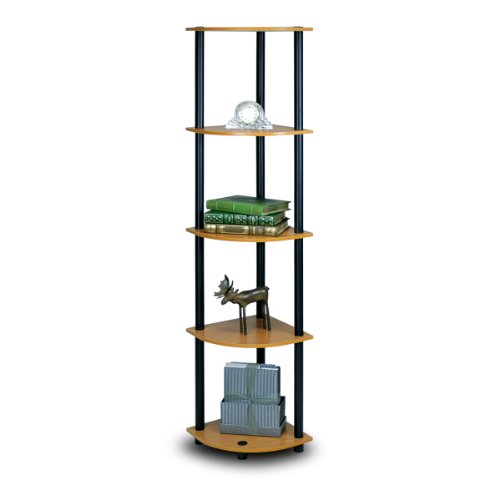- Furinno 99811LC/BK Turn-N-Tube 5-Tier Corner Shelf, Light Cherry