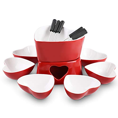 [Bigger Size and Improved] Zen Kitchen Fondue Pot Set, Glazed Ceramic Fondue Set for Chocolate Fondue or Cheese Fondue - Perfect Gift Idea for Housewarming or Birthday Gift (Cherry Red)