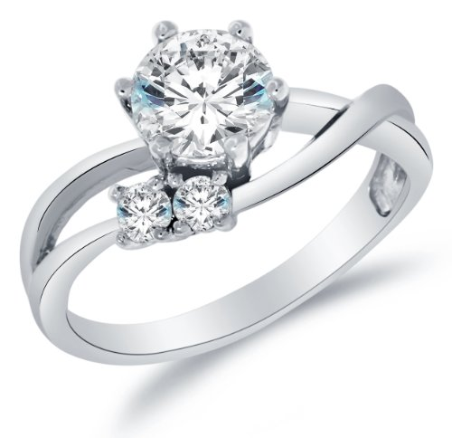 (Size 7 - Solid 14k White Gold Highest Quality CZ Cubic Zirconia Engagement Ring - Round Brilliant Cut Solitaire with Round Side Stones (1.5cttw., 1.0ct. Center))