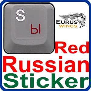 HQRP New Russian Ukrainian Laminated Transparent Keyboard Stickers for All PC & Laptops with Red Lettering