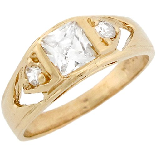 Price comparison product image 10k Real Yellow Gold White CZ Simulated April Birthstone Baby Boys Ring