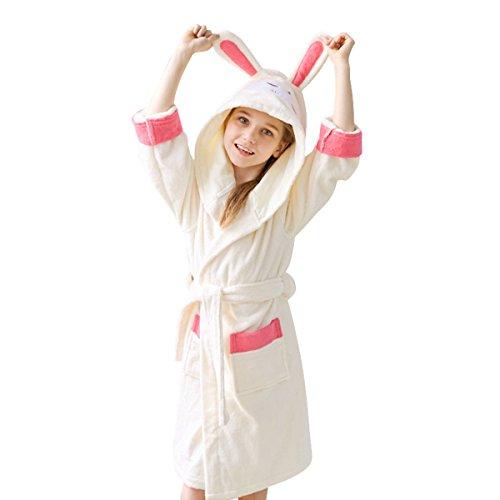 - FCTREE Boys & Girls Terry Cloth Robe Toddler Bathrobes Kids Hooded Sleepwear Pajamas (Tag110: 3-4 Years, Pink White Bunny)