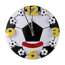 GXCGT Creative Clock, World Cup Football Plastic Material Wall Clocks Living Room Bedroom Decorative Clock AA Battery Mute Movement Mechanism 12 Inches Fun Clock