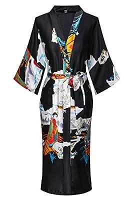 Dandychic Women's Kimono Robes Pagoda Print Kimono Imitation Silk Long Style