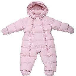 Oceankids Baby Girl\'s Pink One-Piece Detachable Hood Duck Down Snowsuit 6M 3-6 Months