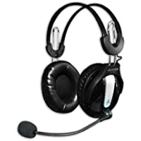 Andrea Communications NC-250 Circumaural Stereo PC Headset with Noise Canceling Microphone, Volume Control, dual 3.5mm plugs, in Retail Packaging.