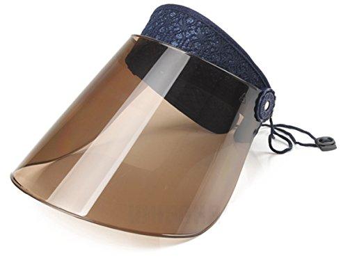 [ミリーファミリー]MiRiiFaMiRiiサンバイザーレース付選べる6色UVカット高性能高耐久性(ミッドナイトブルー)
