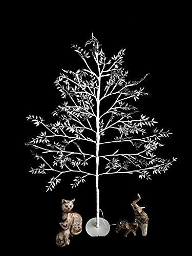 promo code 21db7 8ef8d garden mile® 5ft Glittering Frosted Shabby Chic Silver & White Flat Pre Lit  Christmas Tree Birch Twig Tree Pre Lit With 120 Warm White LED Lights ...