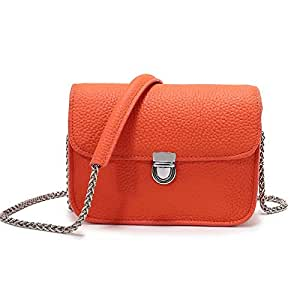 DHINGM Fashionable One-Shoulder Small Square Bag, Leather Diagonal Handbag, Top Layer Cowhide, Beautiful Appearance, Beautiful and Durable (Multiple Colors, 16 * 11 * 7cm)
