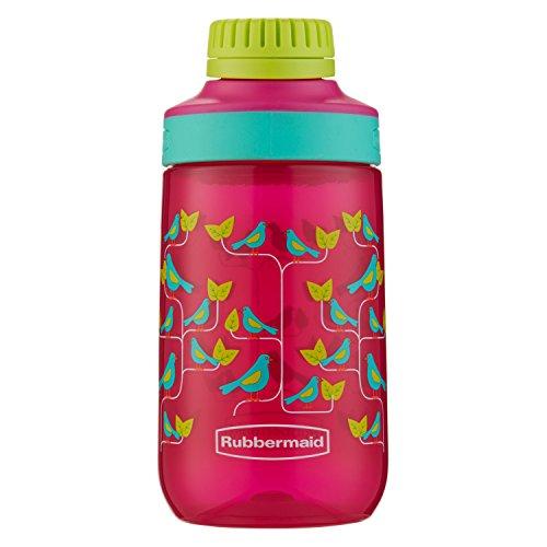 - Rubbermaid Leak-Proof Chug Kids Water Bottle, 14 oz, Tart Pink with Birds on Vine Graphic