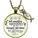 """24"""" Christian Necklace She Cast Her Anxieties Vintage Inspired Bible Message Jewelry Jesus Fish Ichthys Charm"""