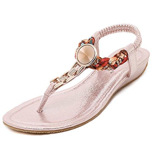 Cybling Comfort Flat Strap Bohemien Sandalen Voor Dames Slip Beach Schoenen Roze