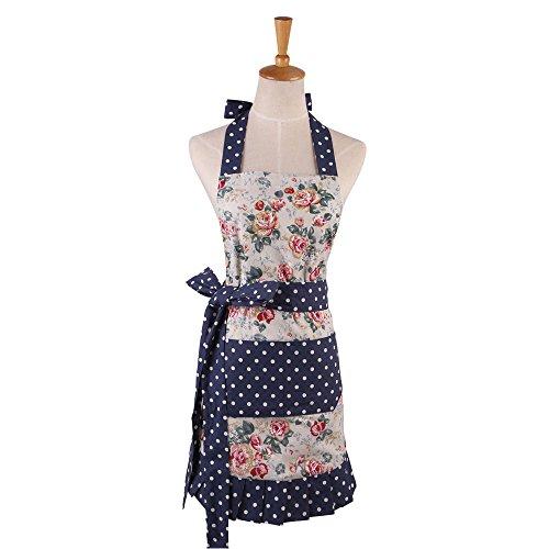cozy.room Cotton Apron for Women with Pockets Kitchen Cooking Aprons Vintage Retro Adjustable Bib Apron Plus Size Apron for Baking Gardening Apron Dress (Blue)