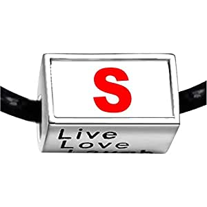 Chicforest Silver Plated Red Letter S Photo Live Love Laugh Charm Beads Fits Pandora Charm