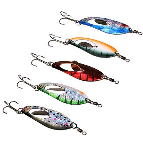 裏切り包括的マナーTHKFISH 釣りスプーン、5個 12.6cm/4.96in 15.8g/0.56ozハード釣りは鋭利な釣り針で釣りを誘惑しますパイク用の偉大なルアートラウトベース釣りスプーン