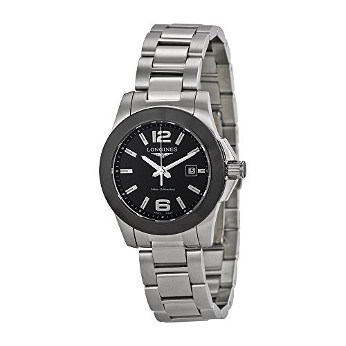 Longines Stainless Steel Wrist Watch (Longines Conquest Black Dial Stainless Steel Ladies Watch)