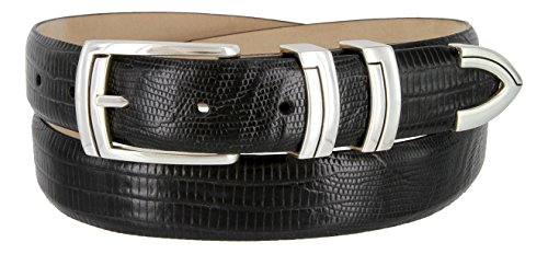 Harbor Men's Italian Genuine Calfskin Leather Designer Dress Belt In Lizard Black, Size 38 - Lizard Dress Belt