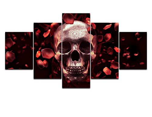 Red Rose Painting on Canvas Skull Feature Skeletons Design Wall Art,Petal Giclee Day of The Dead Artwork Pictures Abstract Framed Decor for Living Room 5 Panel Stretched Ready to Hang(50''Wx24''H) ()