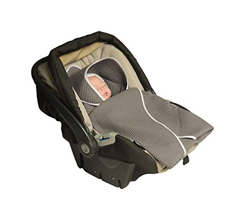 MoMika Classic Swaddling Blanket | Universal Fit for Car Seat | Stroller | Buggy or Baby Bed | Made of Waffle | 100% Cotton | (Grey)