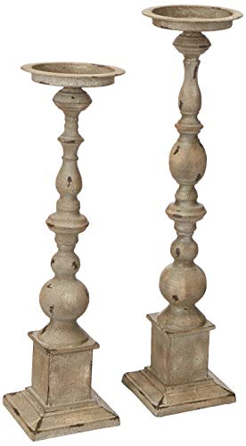 Imax 74182-2 Hamilton Candleholders - Set of 2 Candle Stands, Handcrafted Candle Sticks, Vintage Inspired, Wrought Iron Candle Holders. Home Decor