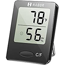 Habor Hygrometer Thermometer Digital Indoor Humidity Monitor Humidity Gauge humidity meter with Standing Wall Hanging Magnet for humidifiers dehumidifiers Greenhouse Basement Babyroom