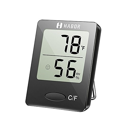 Outdoor Thermometer Hygrometer (Habor Hygrometer Thermometer Digital Indoor Humidity Monitor Humidity Gauge Humidity Meter with Standing Wall Hanging Magnet for Humidifiers Dehumidifiers Greenhouse Basement Babyroom, Black)