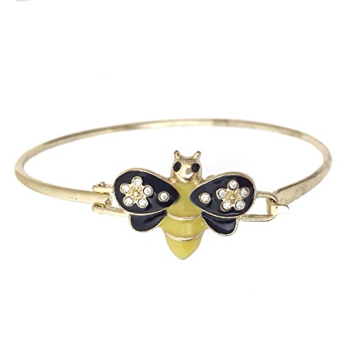 Cute Yellow Black Enamel Bumble Bee Rhinestone Gold Tone Hook Bangle Bracelet (Yellow Enamel Bangle)