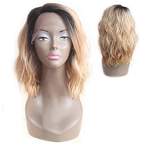 X-tress Bob Wavy Lace Front Wig Ombre Dark Brown Rooted Mixed Platinum Balayage Blonde Glueless Synthetic Wig for Women 12 Inch Shoulder Length for Christmas Wig -