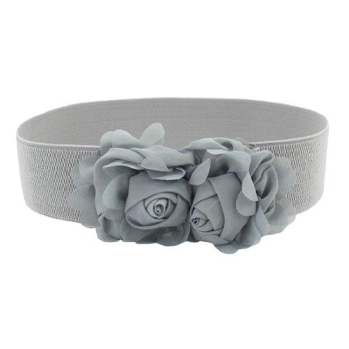 En Avec À Ceinture Pour Taille Gray Fleurs Mousseline Élastique Bouton pression Femme Boucle wtpqfvxf