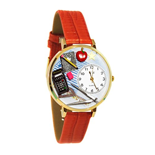 Math Teacher Red Leather And Goldtone Watch #WG-G0640007