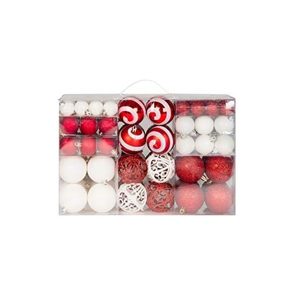Lifestyle & More 100 Palline di Natale 2 Colorate di Bianco e Rosso a Ø 6 cm con Ganci abbinati 1 spesavip