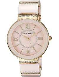 Women's AK/2832LPGB Swarovski Crystal Accented Gold-Tone and Light Pink Ceramic Bracelet Watch