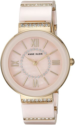 Ak Anne Klein Mother Of Pearl Dial Watch (Anne Klein Women's AK/2832LPGB Swarovski Crystal Accented Gold-Tone and Light Pink Ceramic Bracelet Watch)
