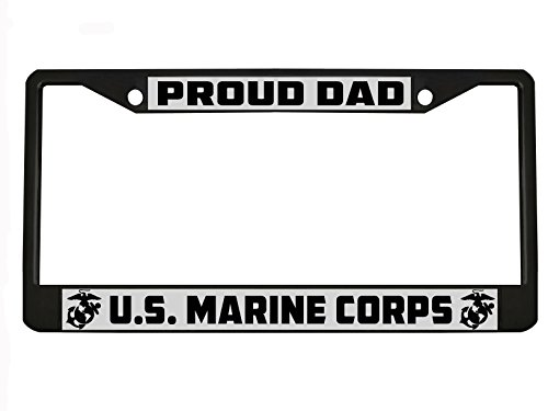 Marine Dad US Marine Corps License Plate Frame Black Metal
